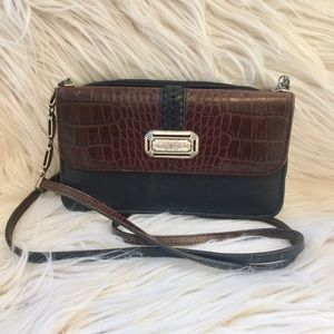 Brighton Crossbody Brown and Black with Silver Bag